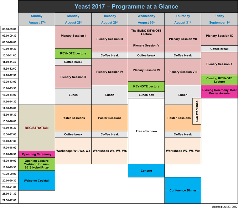 Yeast 2017 - Programme at a Glance