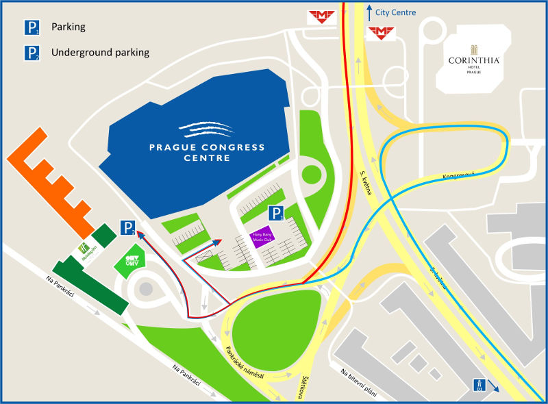 Prague Congress Centre - car access and parking places